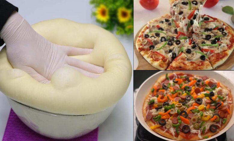 مقادير عجينة البيتزا بالكوب